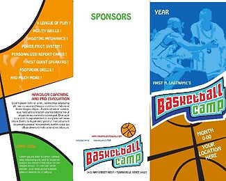Flyer for basket camp (recto)