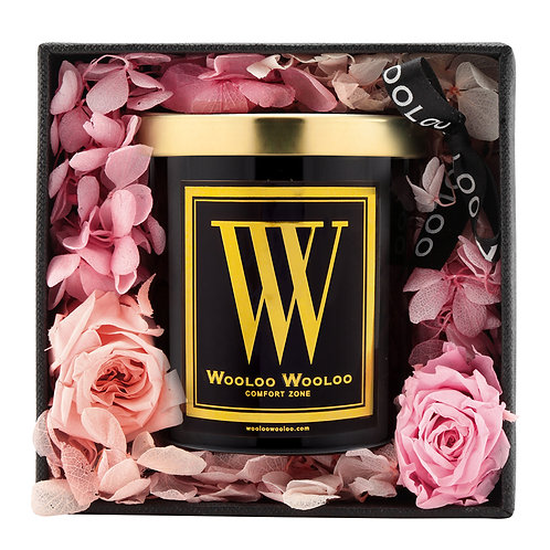 WoolooWooloo: 大豆溫泉按摩油蠟燭禮盒 - 粉紅玫瑰