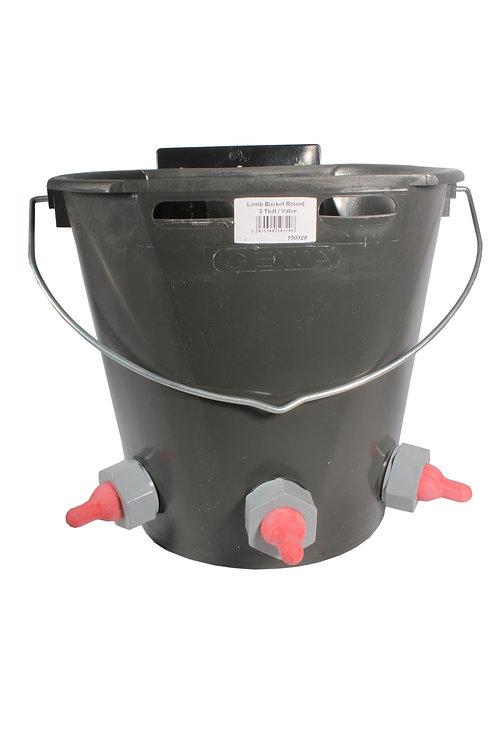 Lamb Feeder Bucket Three Teat c/w valves and  Economy Teats