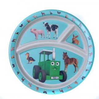 Tractor Ted Bamboo Divider Plate, Baby Animals
