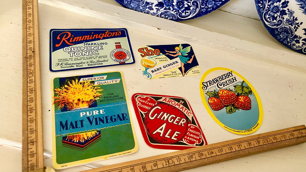 Set of 5 Original Vintage Bottle Labels