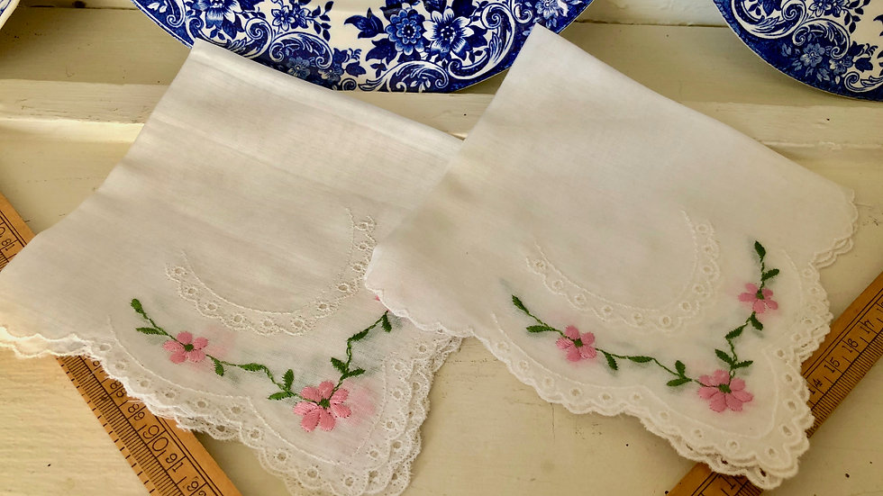 Pairs of Lovely Vintage Linen & Lace Hankies