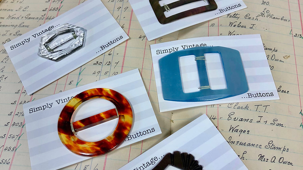 Individual Vintage Buckles - including Glass, Metal and Plastic