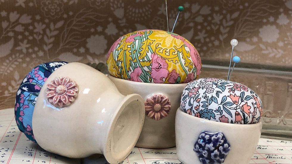 Mini Hand Thrown Pottery Pin Cushion with Liberty Fabric Top