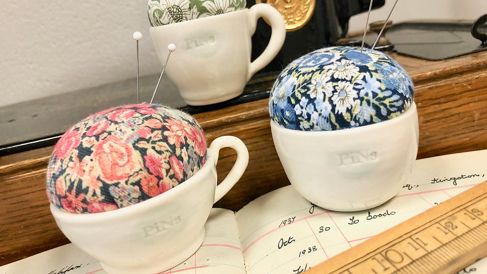 Small Porcelain Hand Thrown Pottery Pin Cushion with Liberty Fabric Top