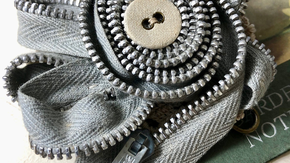Vintage Metal Zip Brooch with Crochet