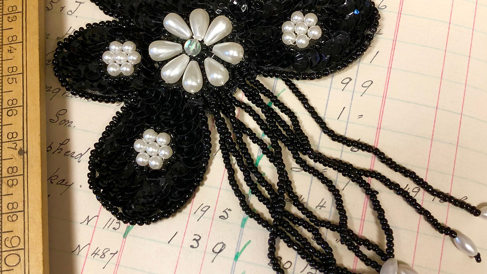 Vintage Sequin and Bead Appliqué Patch with Tassels