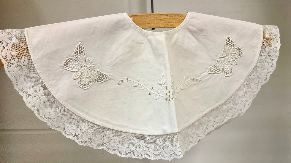 Vintage Cotton Baby Bib with Embroidered Butterfly and Lace