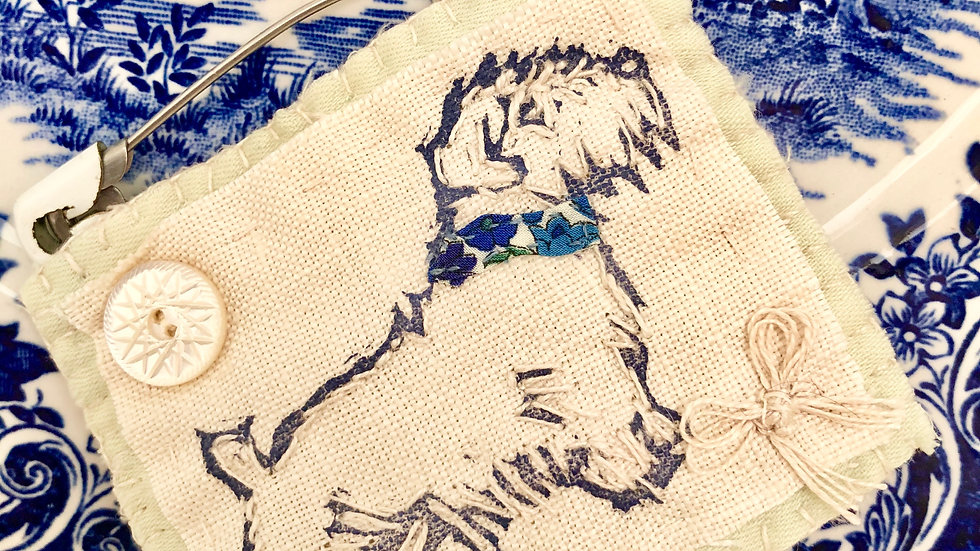 Scruffy Dog Brooch - Original Lino Print and Hand Embroidered.
