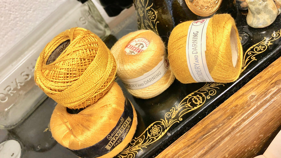 Four Vintage Gold/Yellow Coloured Threads