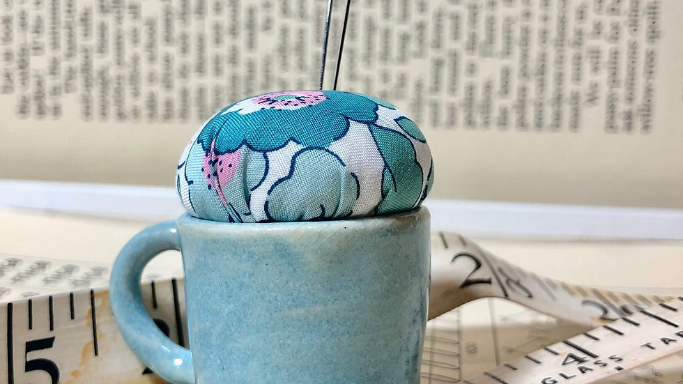 Teeny Teacup Hand Thrown Pottery Pin Cushion with Liberty Fabric Top