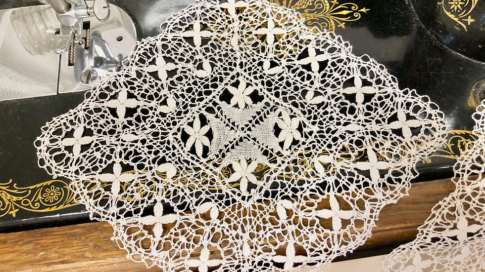 Pair of Beautiful Delicate Lace Doilies or Mats - Lovely Vintage Condition
