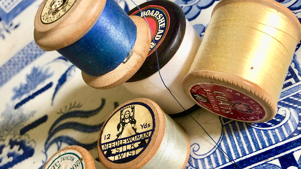 Collection of Vintage Wooden Cotton Reels