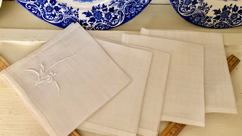Vintage Tea Napkins - Embroidered and Starched