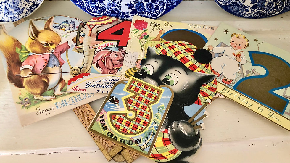 Sets of 5 Vintage Birthday Cards - Written in but with Fabulous Illustrations