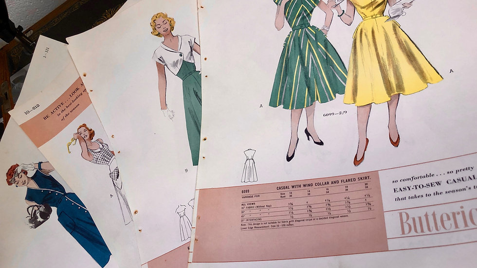 4 x unique 1950's pattern book pages - lucky dip!