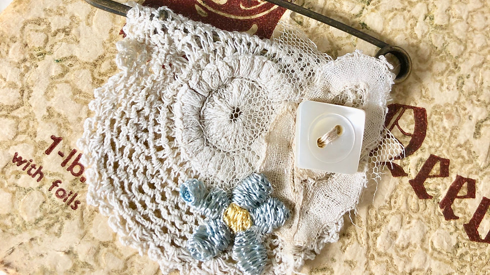 Vintage Crochet Round Hand Stitched Brooch - Choice of Design