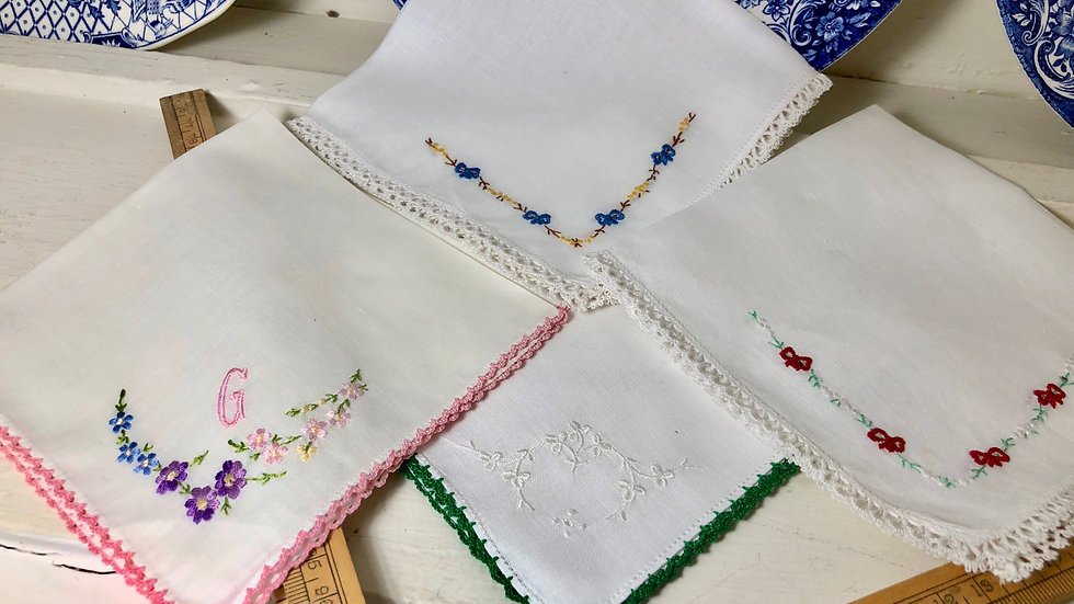 Sets of Lovely Vintage Linen & Lace Hankies