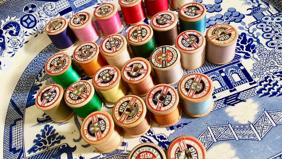 Wooden Sylko Cotton Reels - various colours