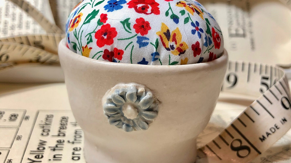 Little Hand Thrown Pottery Pin Cushion with Liberty Fabric Top