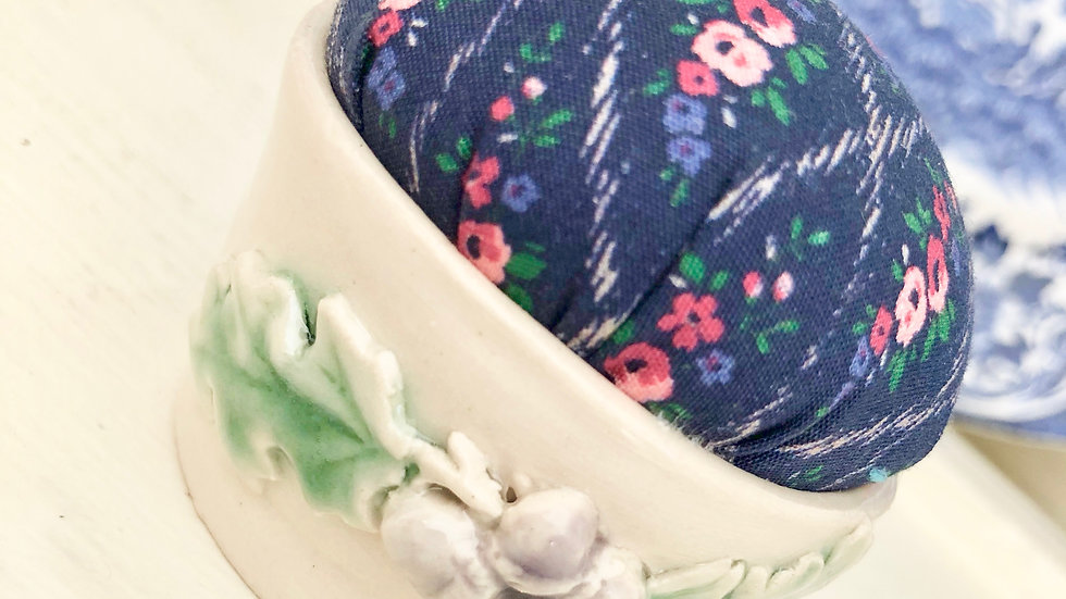 More Little Hand Thrown Pottery Pin Cushions with Liberty Fabric Tops