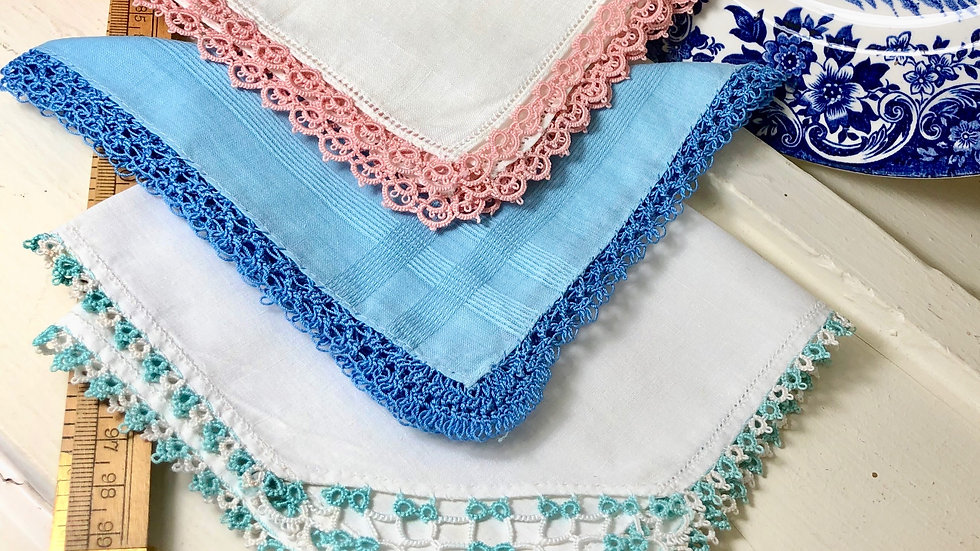 Trio of Lovely Vintage Cotton and Crochet Edge Hankies
