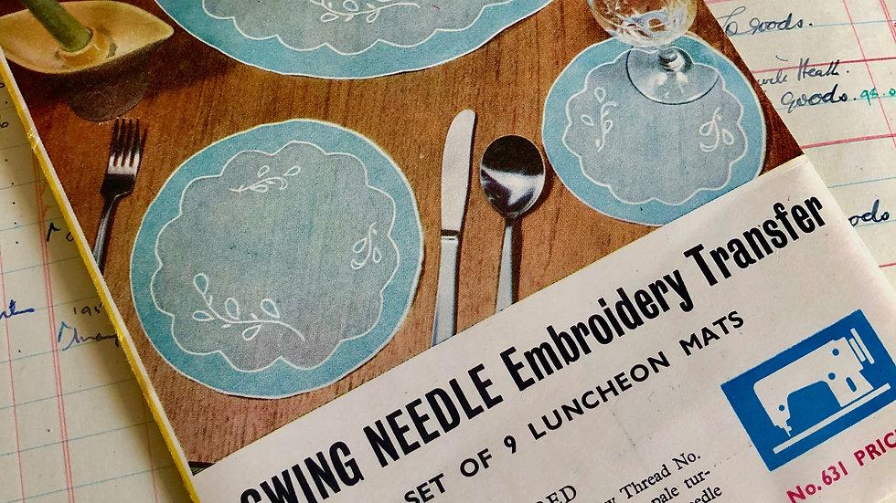 Vintage Swing Needle Embroidery Transfer  - Complete & Unused