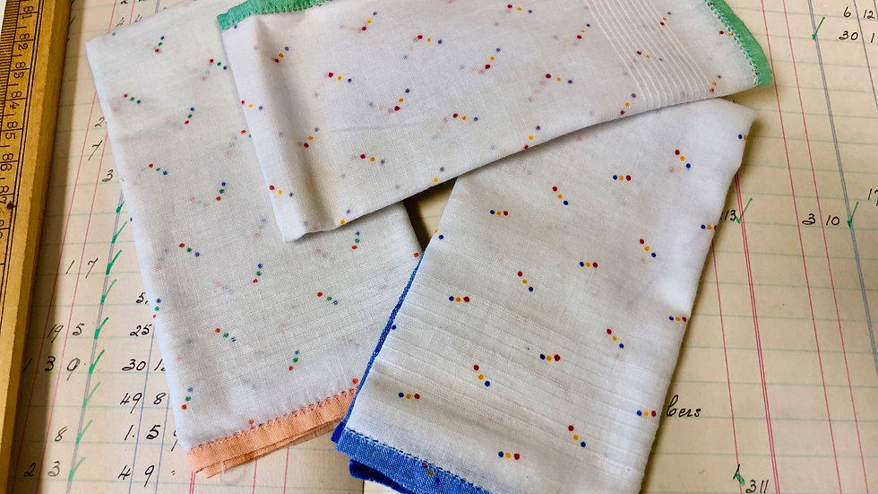 Another Trio of Lovely Vintage Fine Cotton Hankies