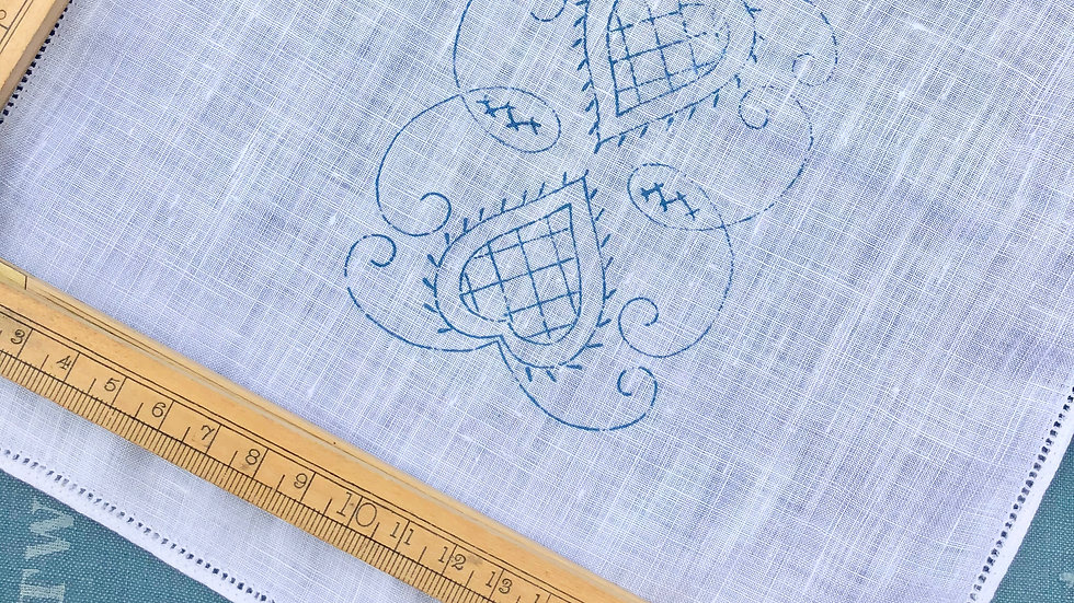 Vintage cotton square with original embroidery transfer & threads
