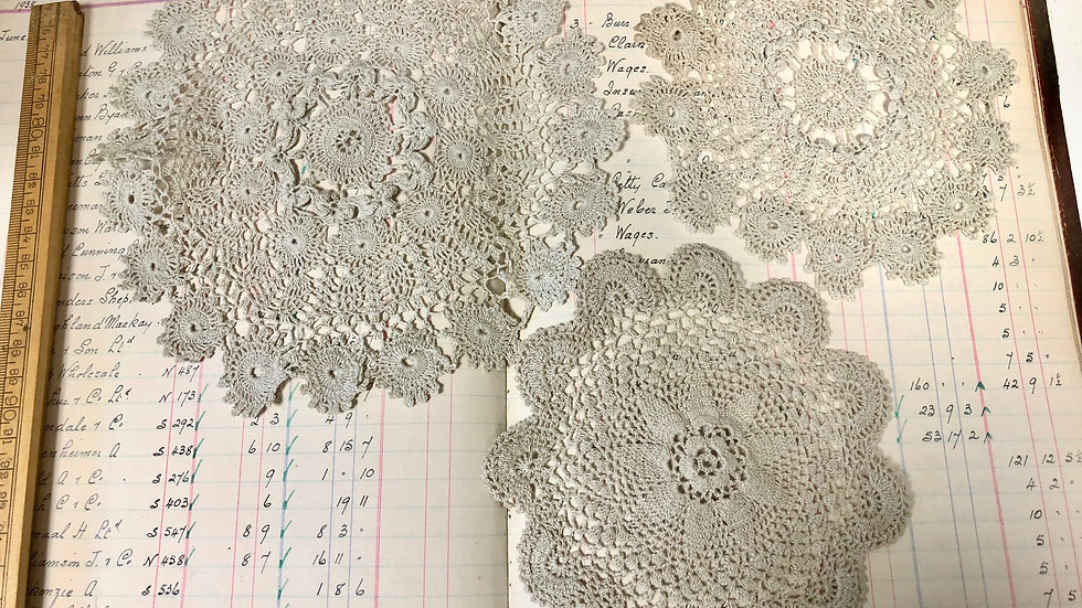 Trio of Beautiful Ecru Lace Doilies or Mats - Lovely Vintage Condition