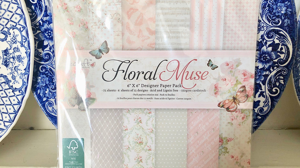 """Floral Muse Craft Paper Pad - 6"""" x 6"""" - 72 Papers"""
