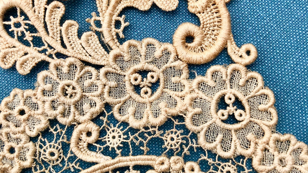 Antique Lace Piece - Floral and Scroll