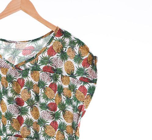 Pine Pattern V-neck One Piece Dress - 水果圖案及膝連身裙