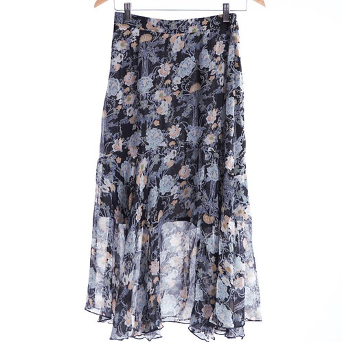 Ply Down Pattern Frill Phone Skirt - 花圖案褶邊長裙