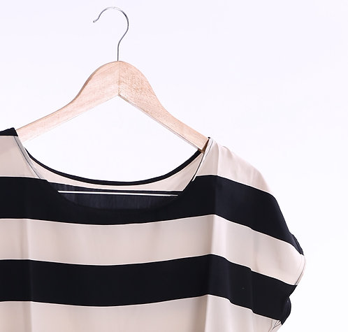 Short Sleeve Chiffon Tunic Blouse - 短袖橫間短上衣