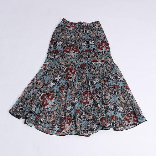 Ply Down Pattern Frill Phone Skirt - 復古風花紋長裙