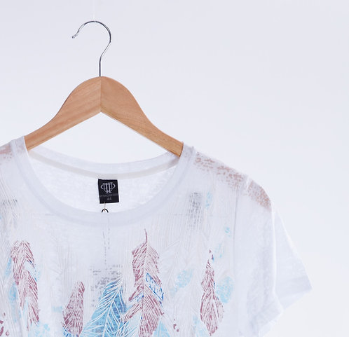 Feather Print Lame Opal Line T-shirt - 羽毛圖案 T裇