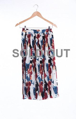 Floral Pattern Pleats Skirt - 碎花長身百褶裙