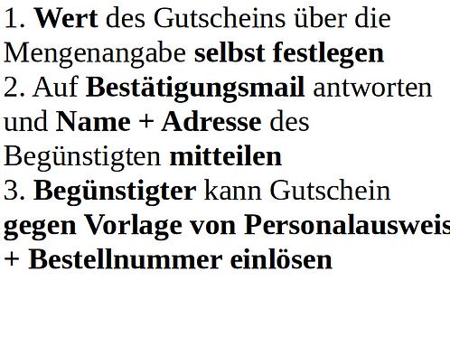 Gutschein kaufen - Name des Begünstigten in Mail angeben, siehe unten