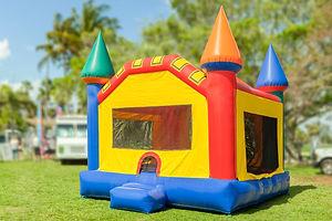 A simple but colorful castle bounce hous