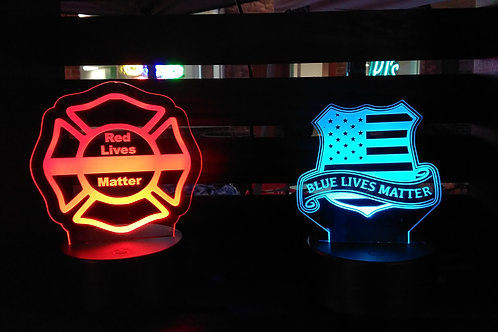 Blue or Red Lives Matter Edge Lit Acrylic Light