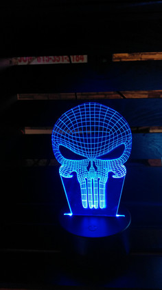 Skull Edge Lit Acrylic