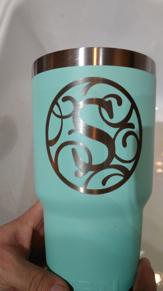 Custom Initial Etched on Yeti