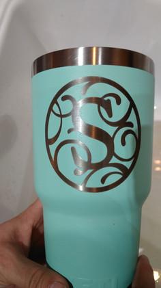 Custom Initial Etched on Yeti