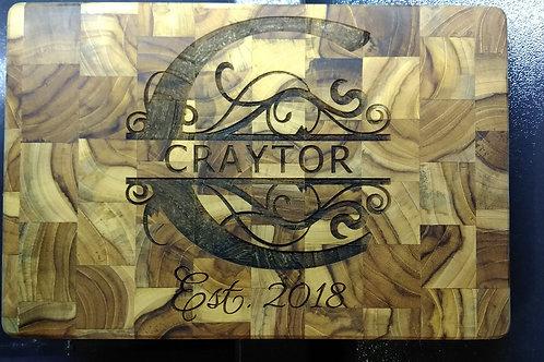 Custom Cutting Board with Monogram