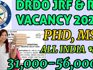 सुनहरा मौका / DRDO JRF RECRUITMENT 2020 / DRDO RA LATEST VACANCY 2020 / DRDO LATEST JOB