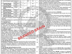 JOB FOR BE, BTECH, DIPLOMA in various field, Mishra Dhatu Nigam Vacancy 2021,midhani