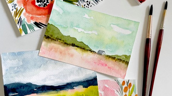 Watercolor Postcards with Kara Aina
