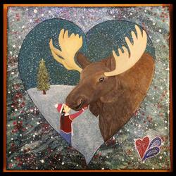 Moose Kiss Framed