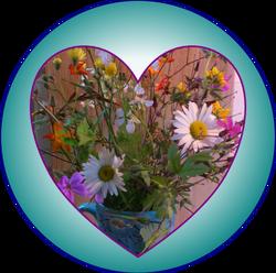 Creative Flower Heart Web Button